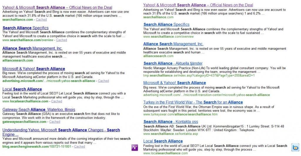 Yahoo and Bing Comparison