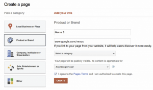 Create a business page on Google Plus