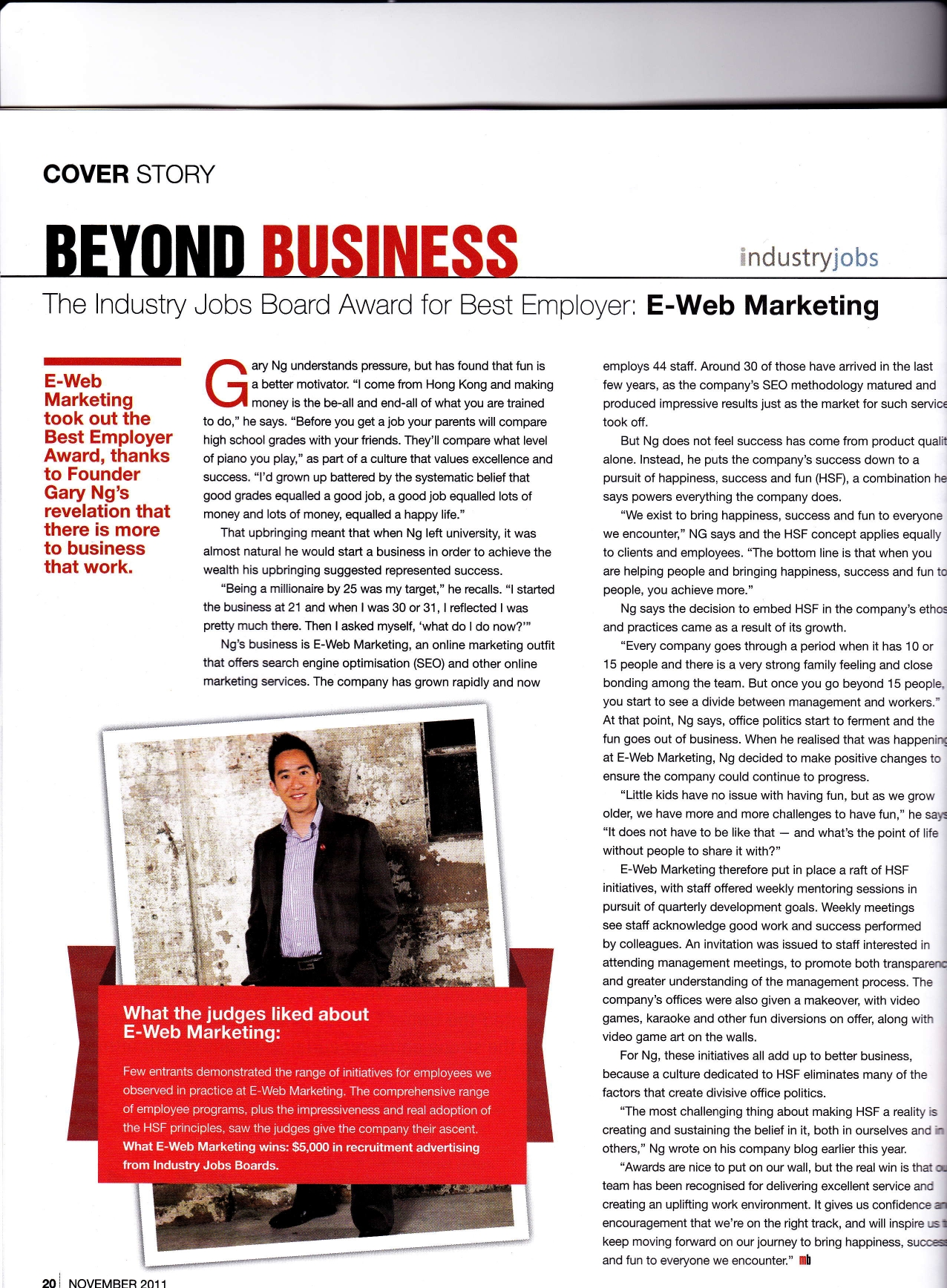 Marketing interviewed on my business magazine for best employer award
