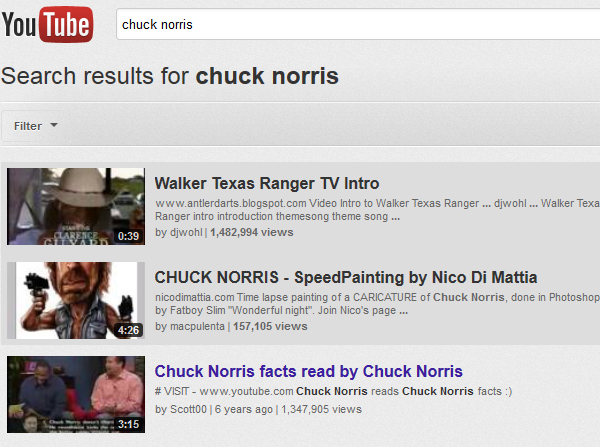 Chuck Norris Search Video Results
