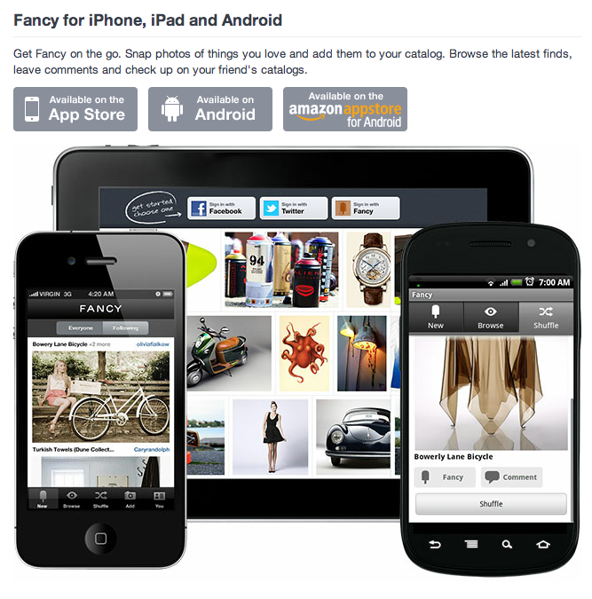 Fancy - iPhone, iPad and Android