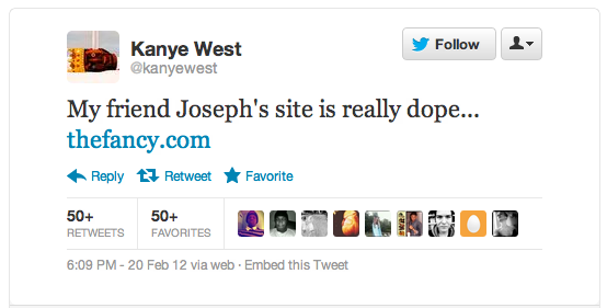 Kanye West tweeted Fancy