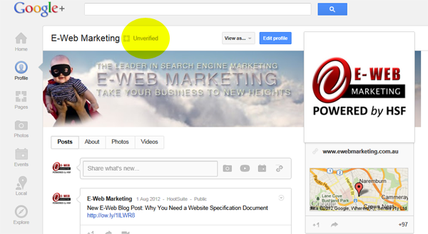 Unverified Google+ Local Page