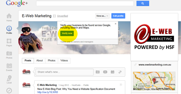 Verify Now on Google+ Local page