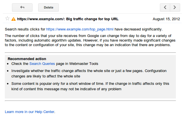 "An example of the Google Webmaster Tools ""Search Query"" alert"