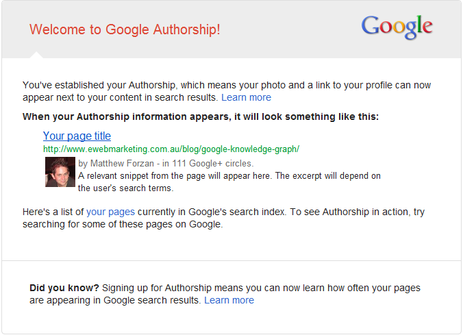 Google Authorship Email Notification