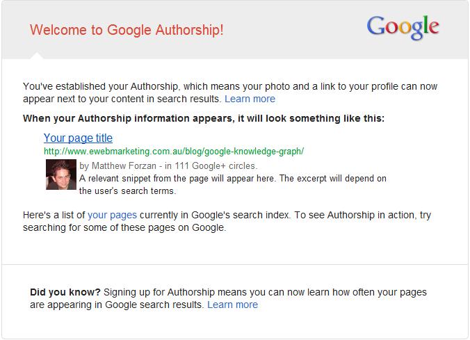 Google Authorship Email Notification