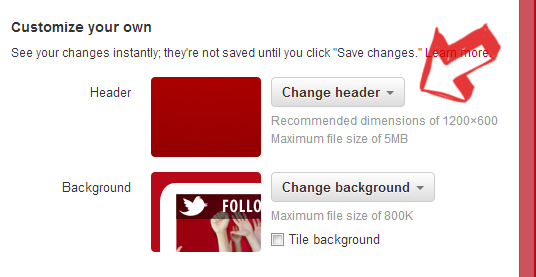 Change header under customize your own heading