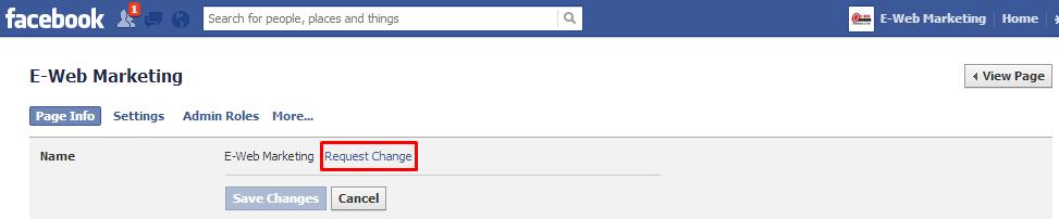Facebook request change link