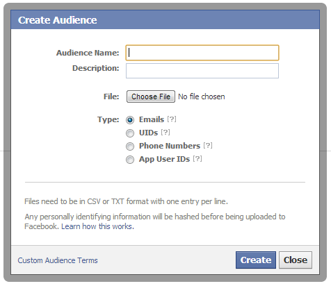 Create Audience in Facebook