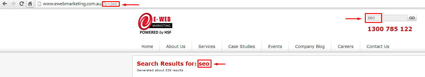 A search performed on the E-Web Marketing website