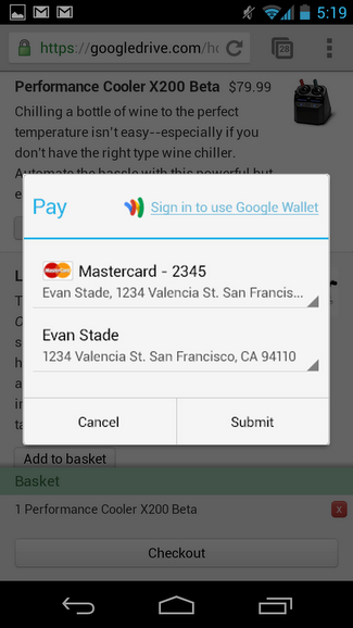 Autocomplete form on a mobile device