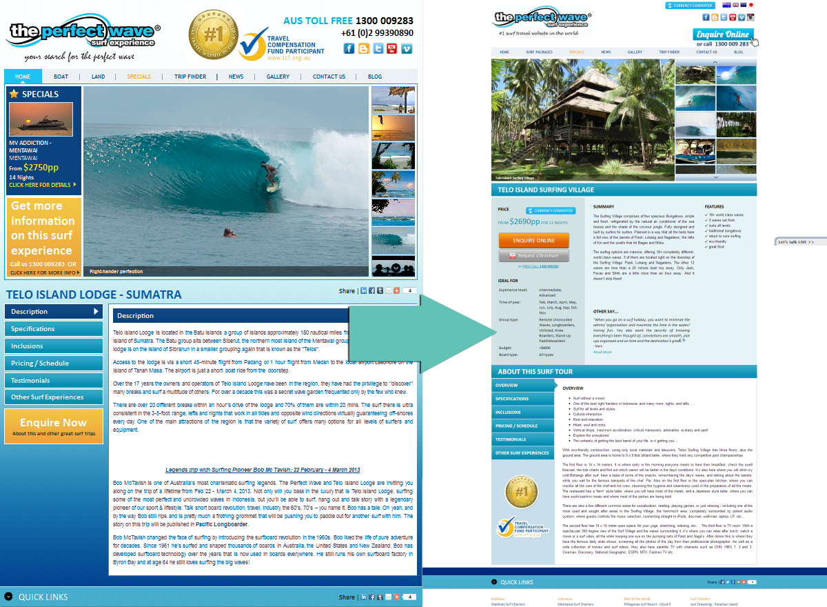 Holiday package page, before (left) and after (right)
