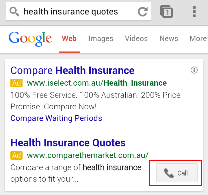 Call button on mobile devices