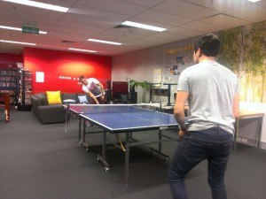 Sam Shetty and Chris Lim in a Friday night Ping Pong tournament