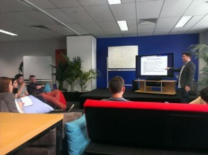 Dino Bernado presenting on Facebook Advertising in a weekly training session.