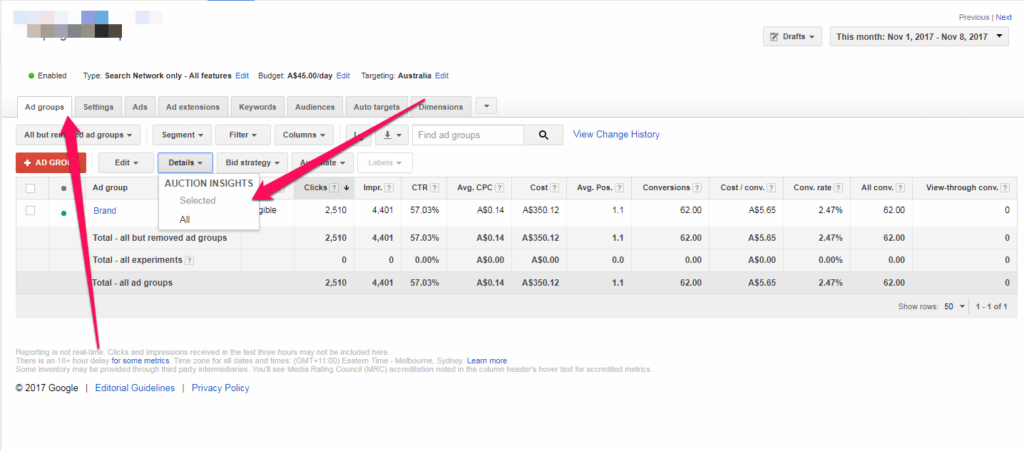 Adwords Auction Insights - Old Interface