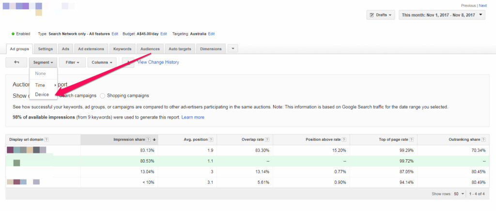 Adwords Auction Insights -Device Level - Old Interface